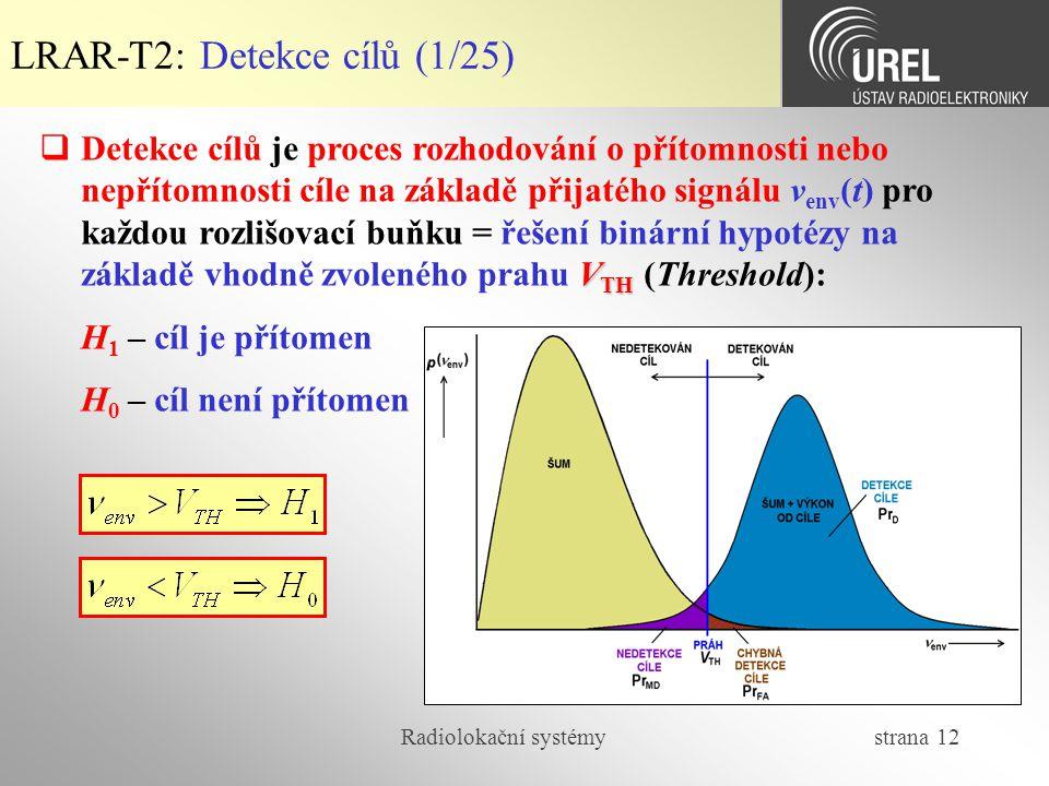 LRAR-T2: Detekce cílů (1/25)