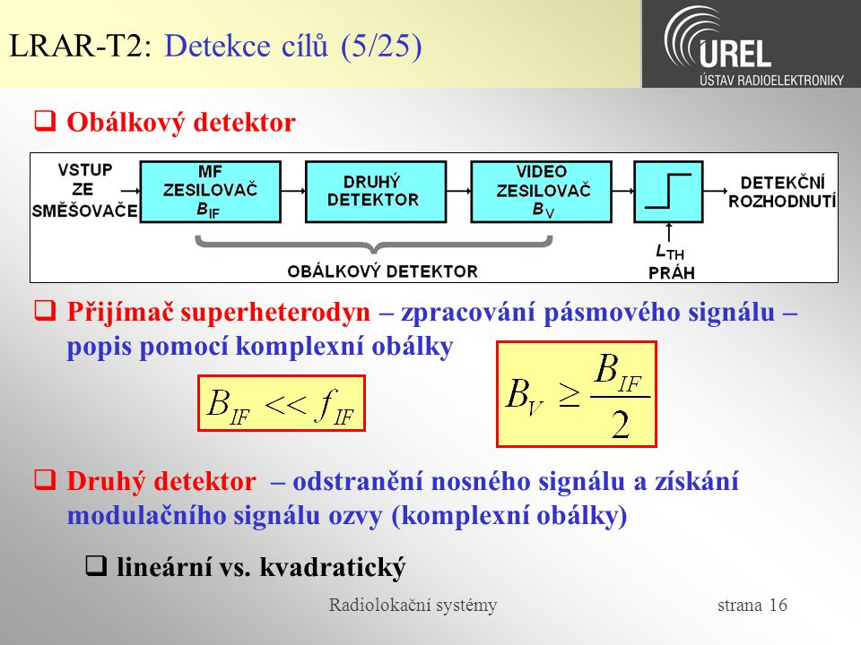 LRAR-T2: Detekce cílů (5/25)
