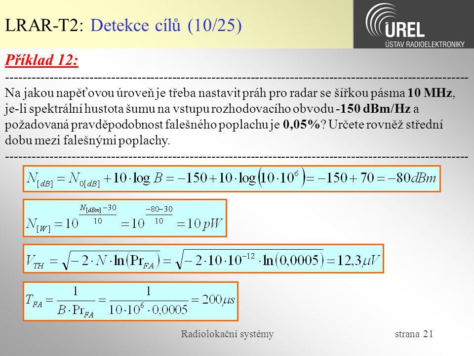 LRAR-T2: Detekce cílů (10/25)