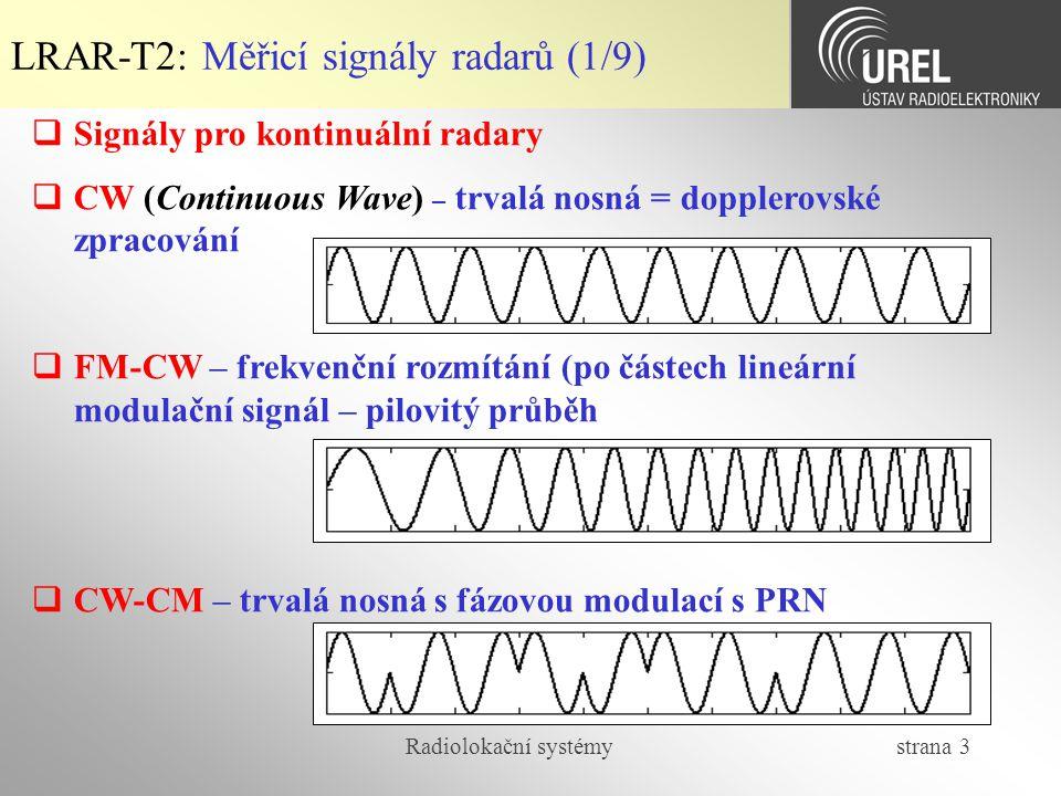 LRAR-T2: Měřicí signály radarů (1/9)