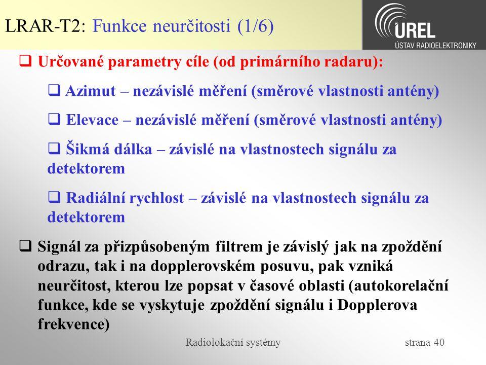 LRAR-T2: Funkce neurčitosti (1/6)