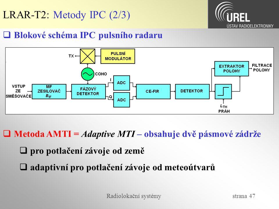 LRAR-T2: Metody IPC (2/3) Blokové schéma IPC pulsního radaru