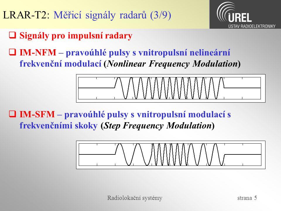 LRAR-T2: Měřicí signály radarů (3/9)
