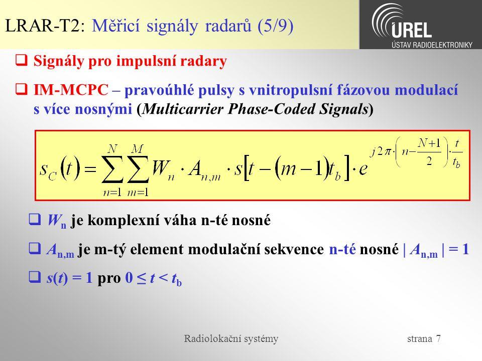 LRAR-T2: Měřicí signály radarů (5/9)