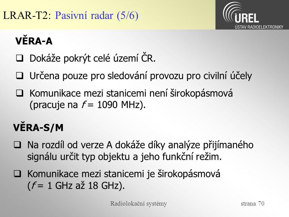 LRAR-T2: Pasivní radar (5/6)