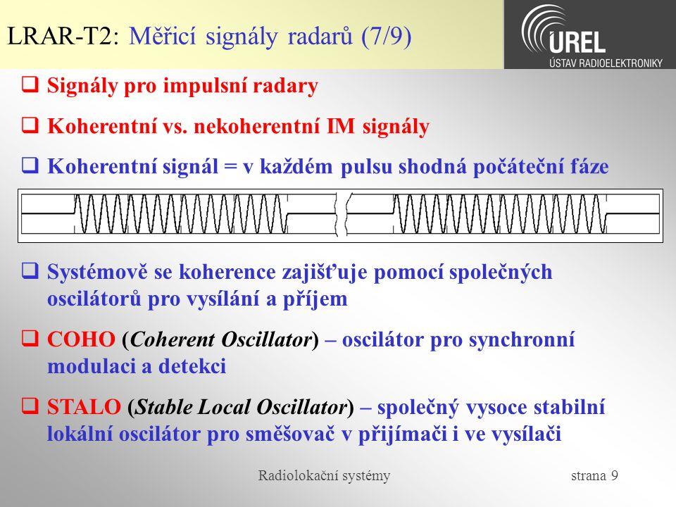 LRAR-T2: Měřicí signály radarů (7/9)