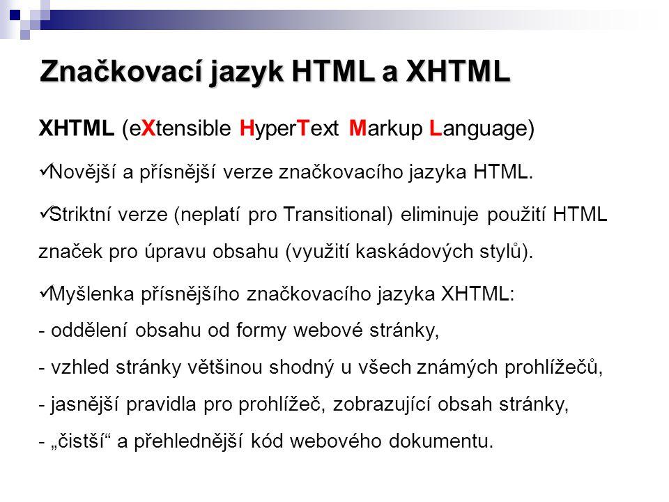 Značkovací jazyk HTML a XHTML
