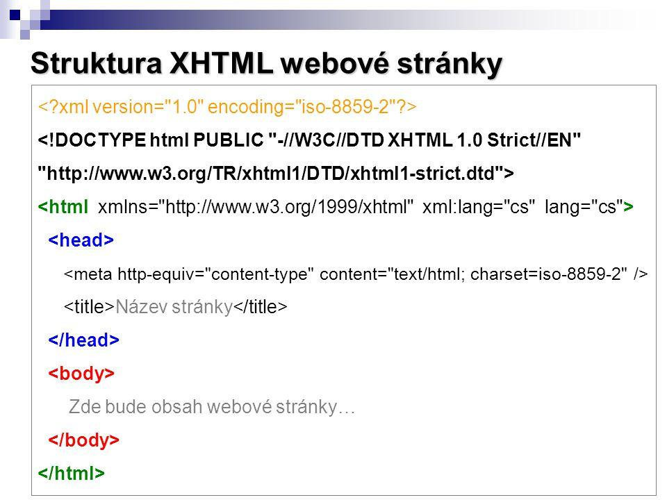 Struktura XHTML webové stránky
