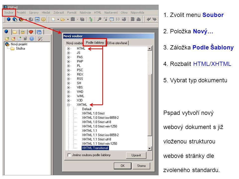 1. Zvolit menu Soubor 2. Položka Nový… 3. Záložka Podle Šablony. 4. Rozbalit HTML/XHTML. 5. Vybrat typ dokumentu.