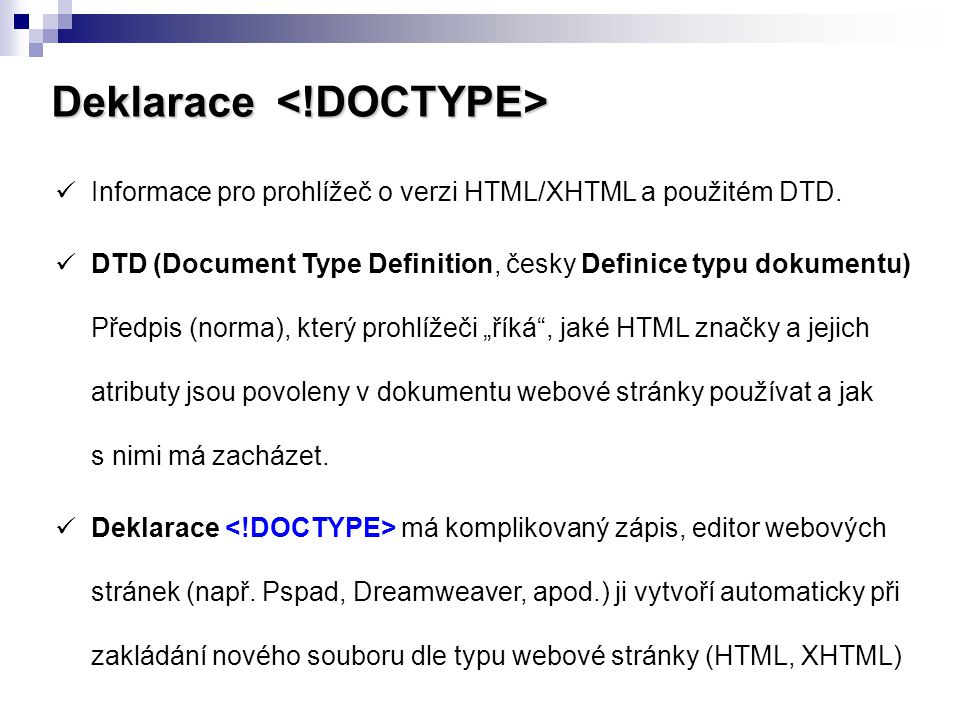 Deklarace <!DOCTYPE>