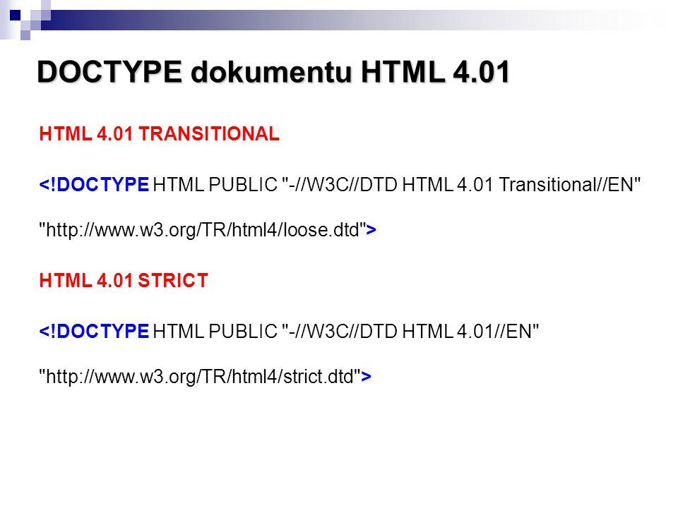 DOCTYPE dokumentu HTML 4.01