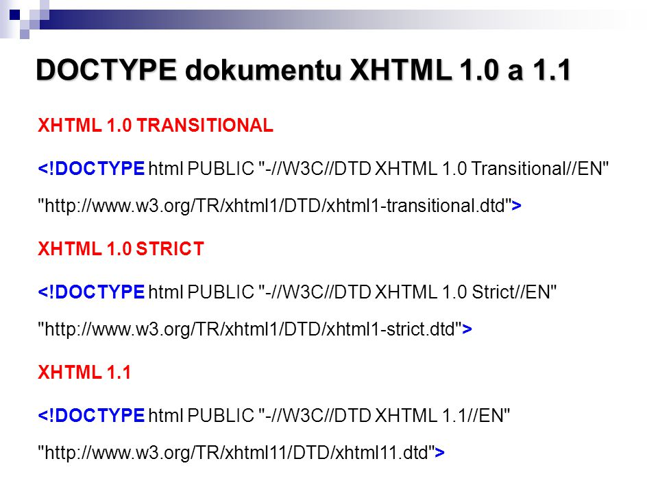 DOCTYPE dokumentu XHTML 1.0 a 1.1
