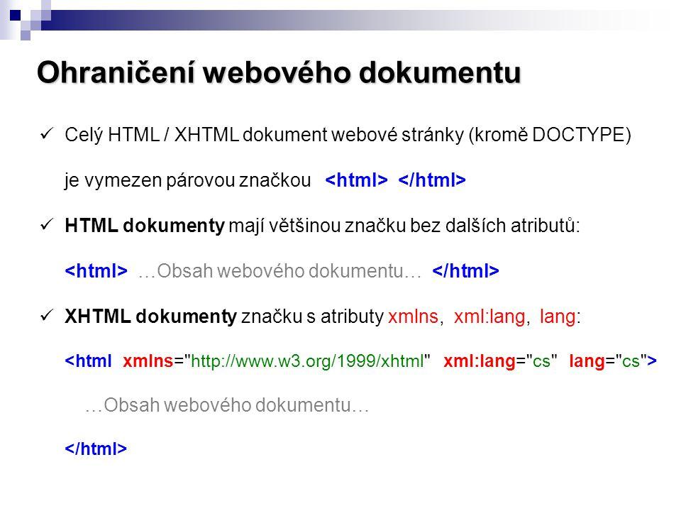 Ohraničení webového dokumentu
