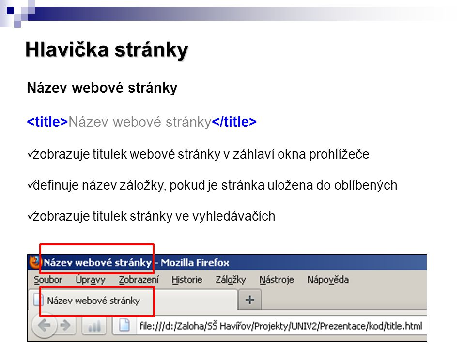 Hlavička stránky Název webové stránky