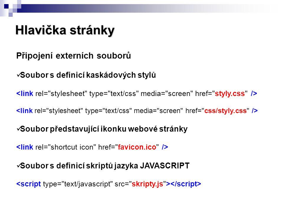 Hlavička stránky Připojení externích souborů