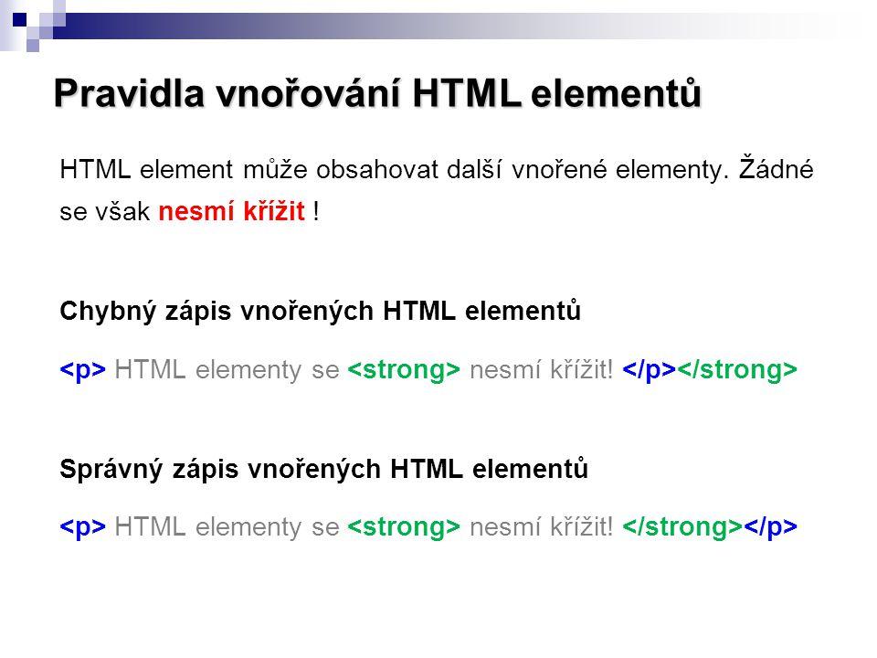 Pravidla vnořování HTML elementů