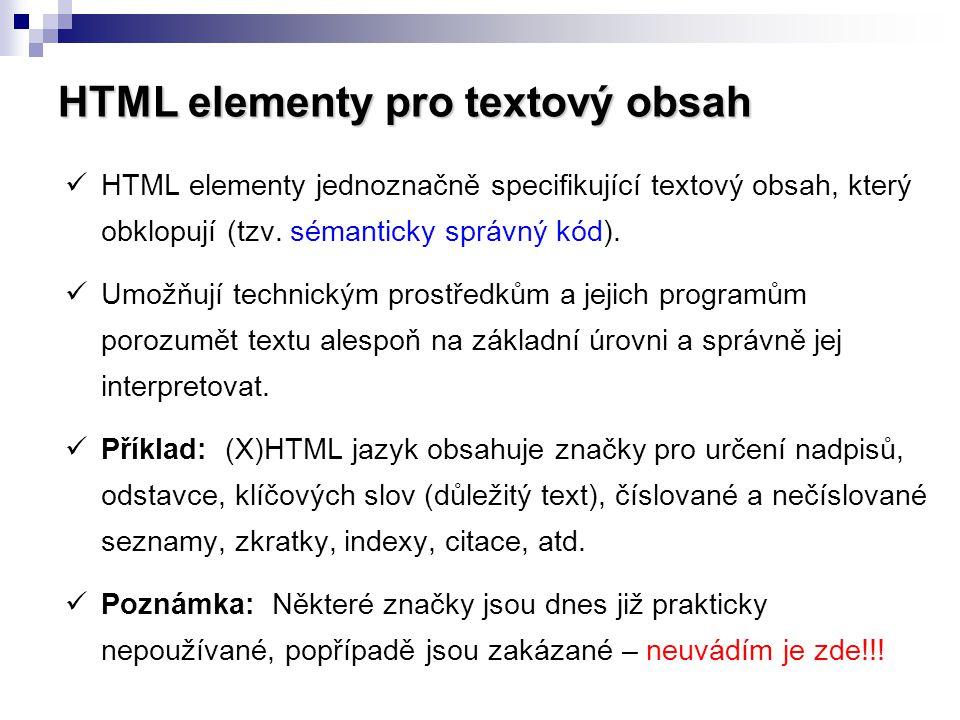 HTML elementy pro textový obsah