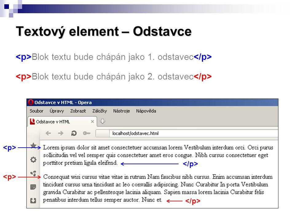 Textový element – Odstavce