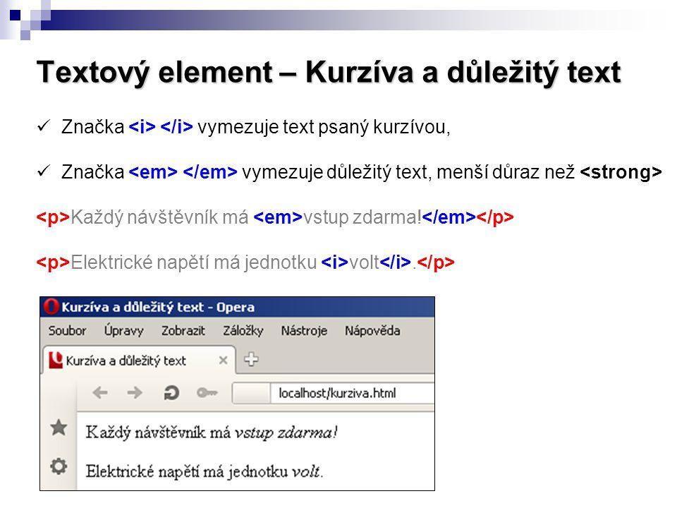 Textový element – Kurzíva a důležitý text