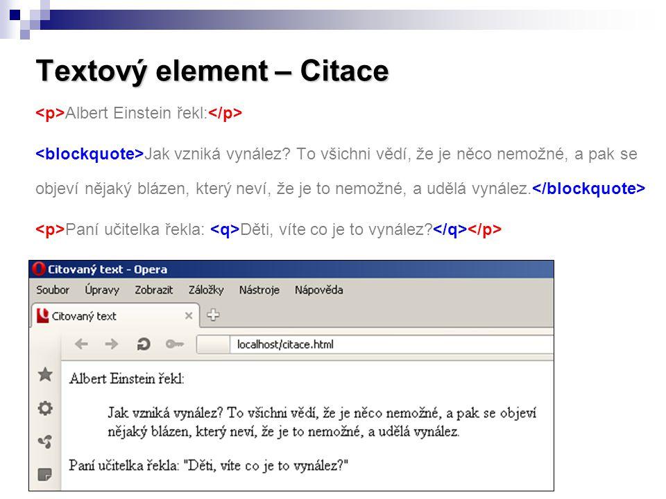 Textový element – Citace