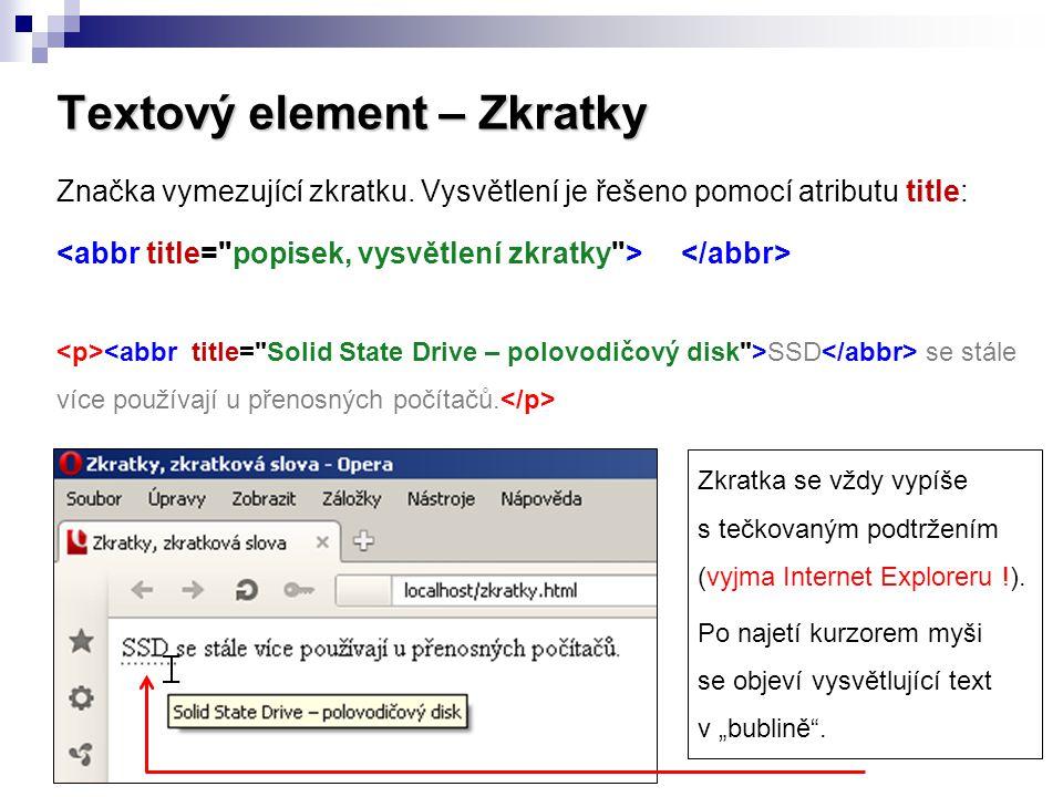 Textový element – Zkratky