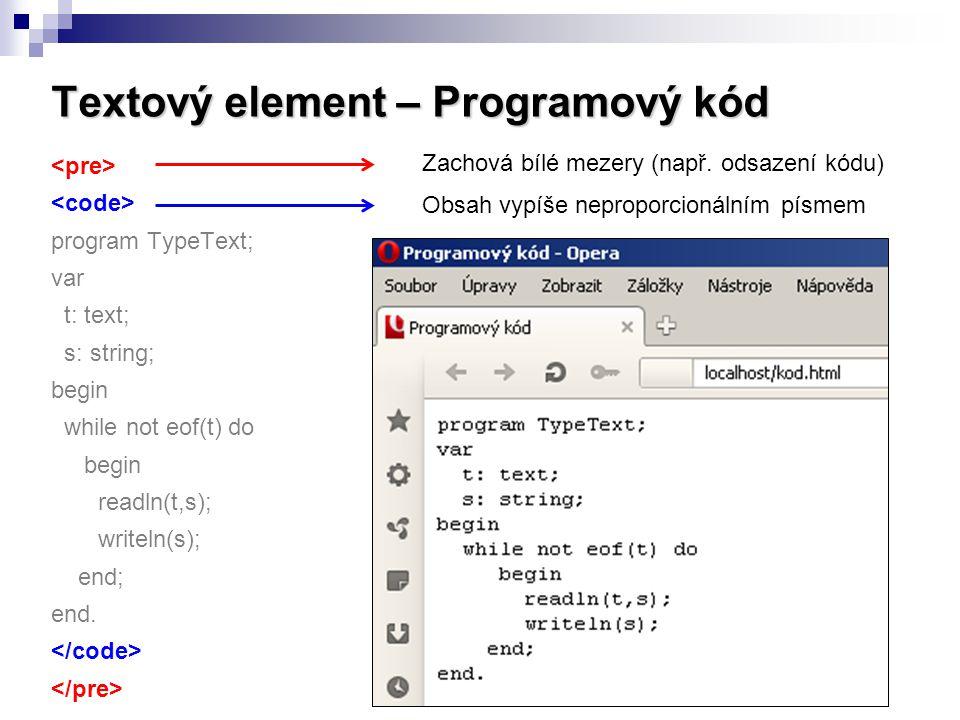 Textový element – Programový kód