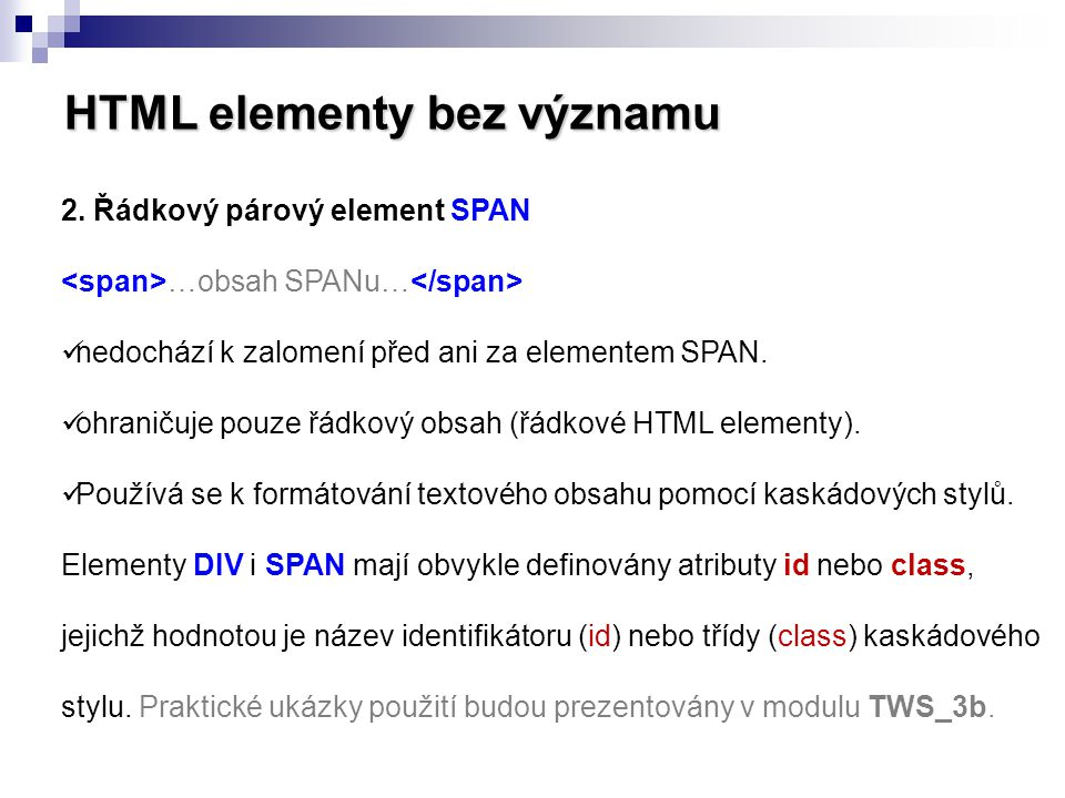 HTML elementy bez významu