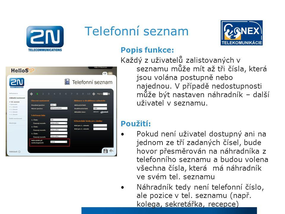 Telefonní seznam Popis funkce: