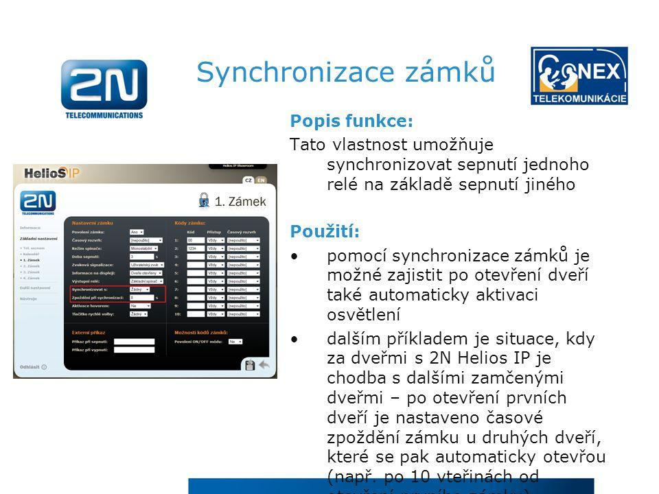 Synchronizace zámků Popis funkce: