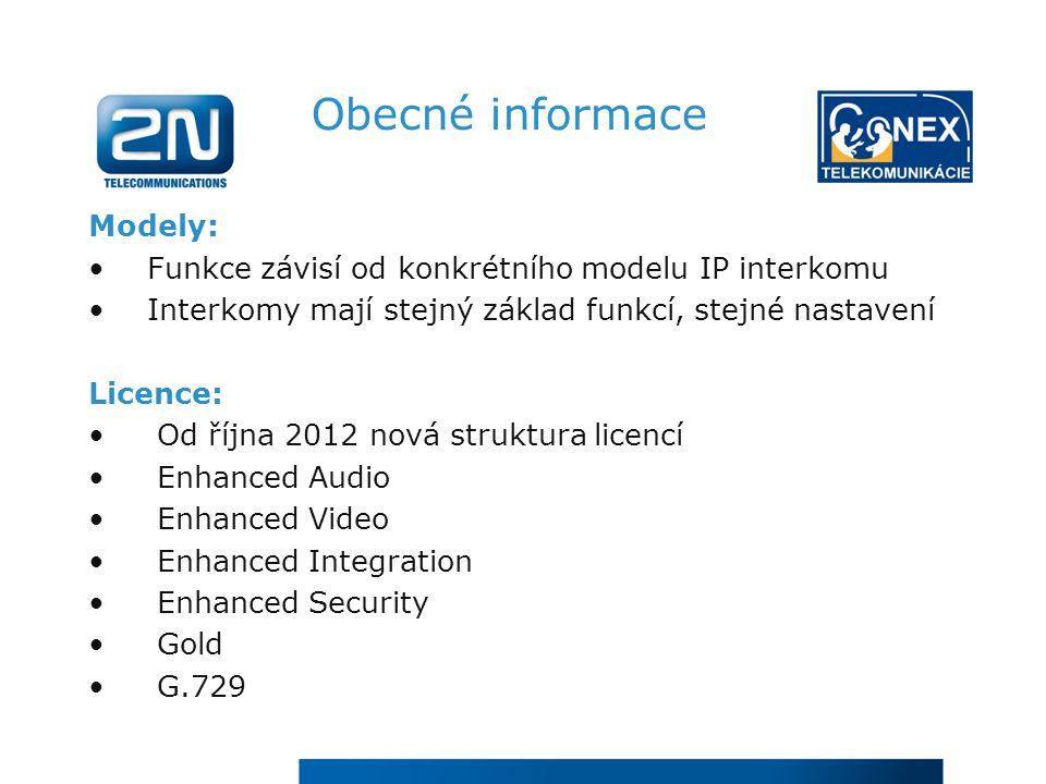 Obecné informace Modely: