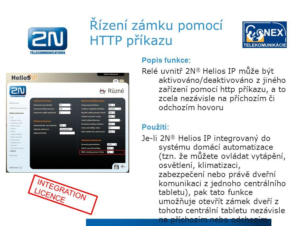 Řízení zámku pomocí HTTP příkazu