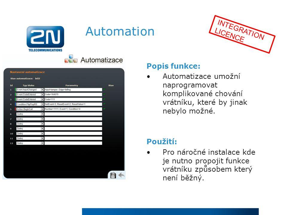 Automation INTEGRATION LICENCE Popis funkce: