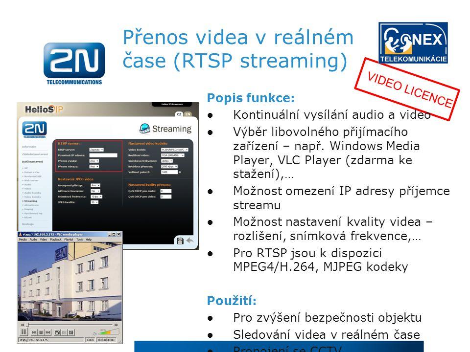 Přenos videa v reálném čase (RTSP streaming)