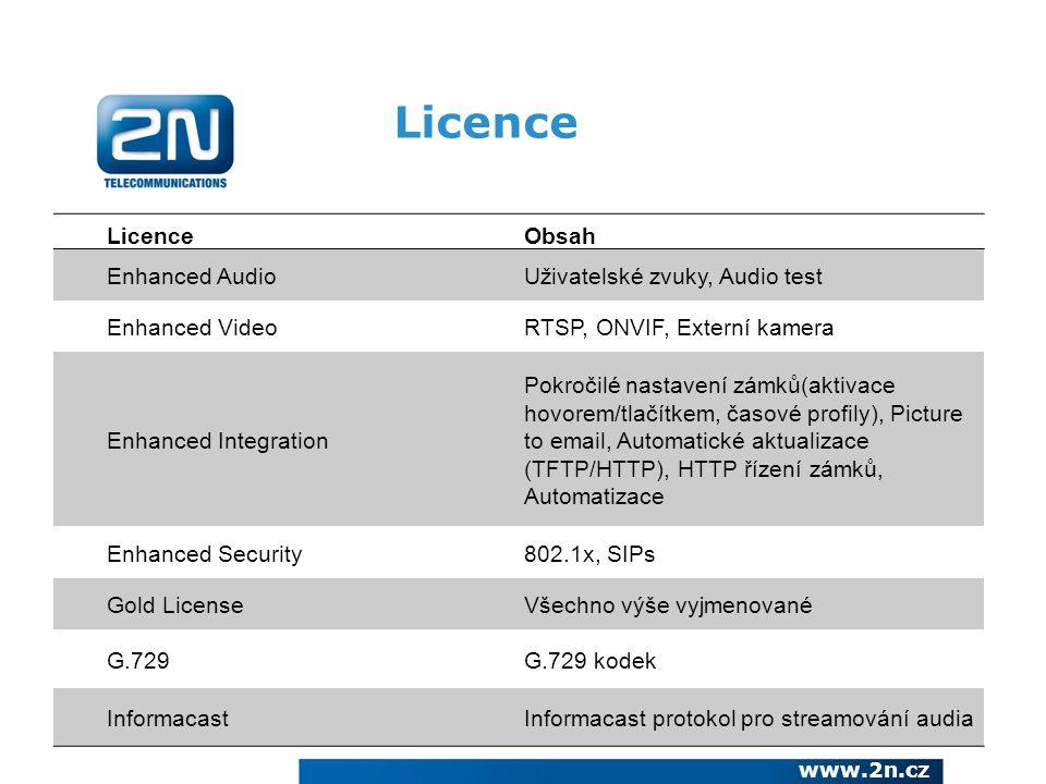 Licence Licence Obsah Enhanced Audio Uživatelské zvuky, Audio test
