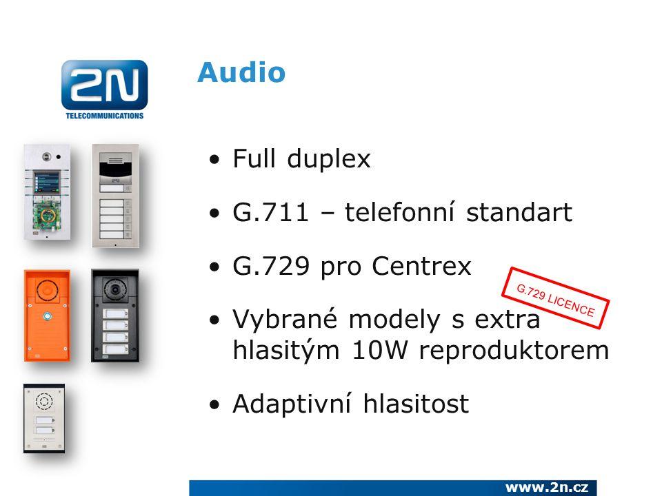 Audio Full duplex G.711 – telefonní standart G.729 pro Centrex
