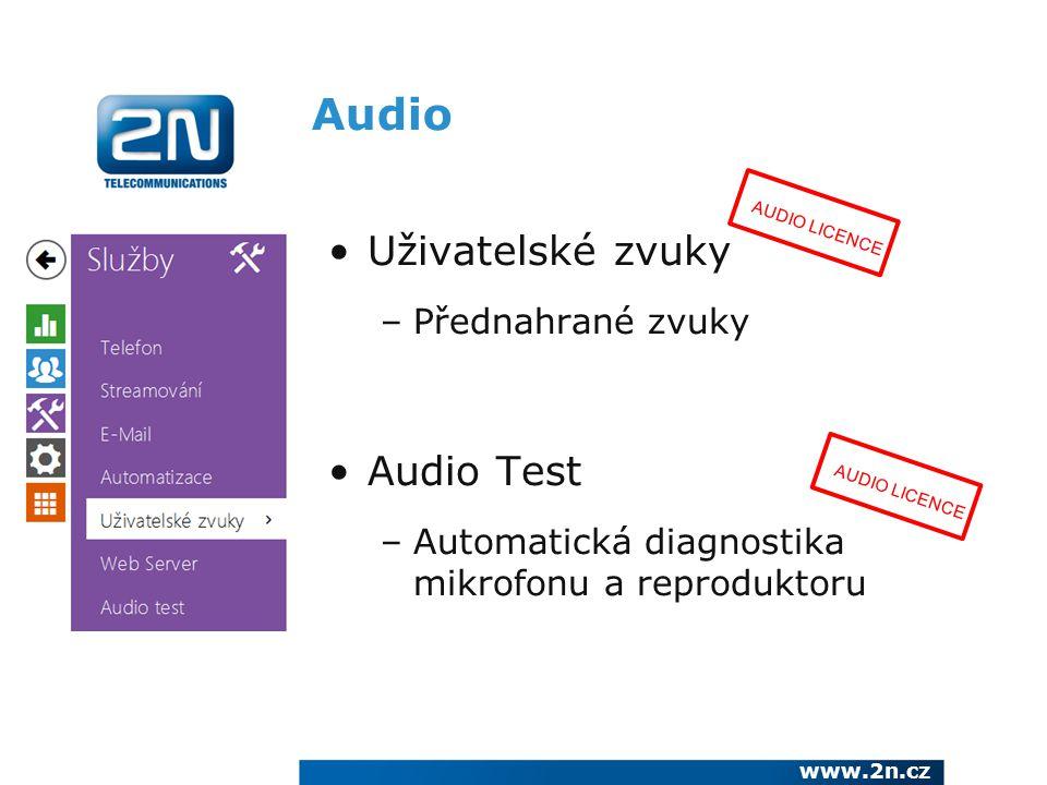 Audio Uživatelské zvuky Audio Test Přednahrané zvuky