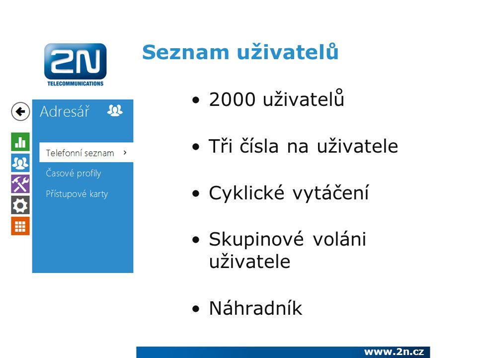 Seznam uživatelů 2000 uživatelů Tři čísla na uživatele
