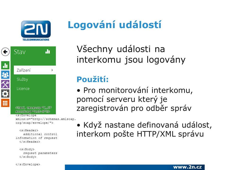 Logování událostí Všechny události na interkomu jsou logovány Použití: