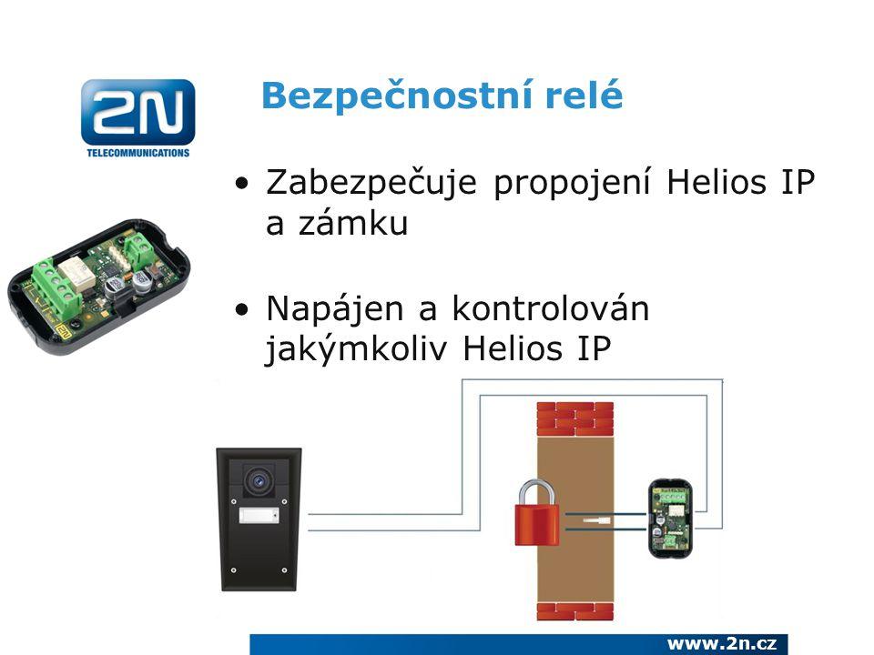 Bezpečnostní relé Zabezpečuje propojení Helios IP a zámku