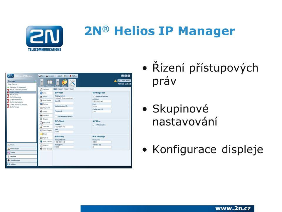 2N® Helios IP Manager Řízení přístupových práv Skupinové nastavování