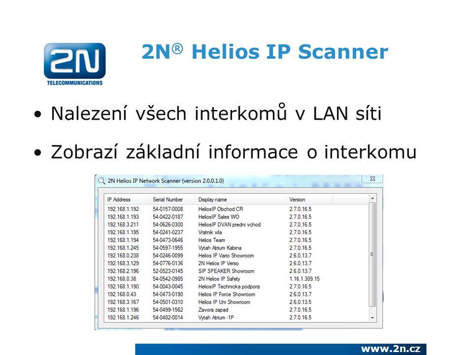 2N® Helios IP Scanner Nalezení všech interkomů v LAN síti
