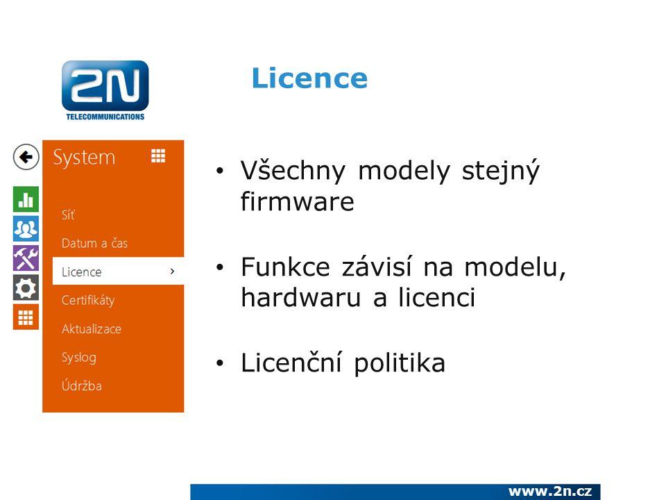 Licence Všechny modely stejný firmware