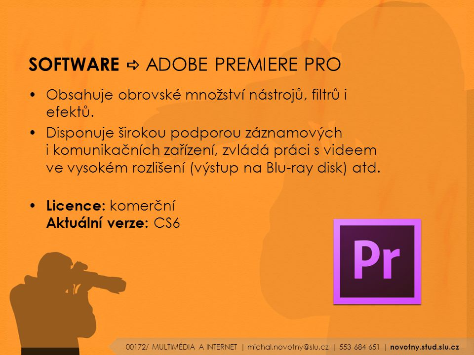SOFTWARE a ADOBE PREMIERE PRO