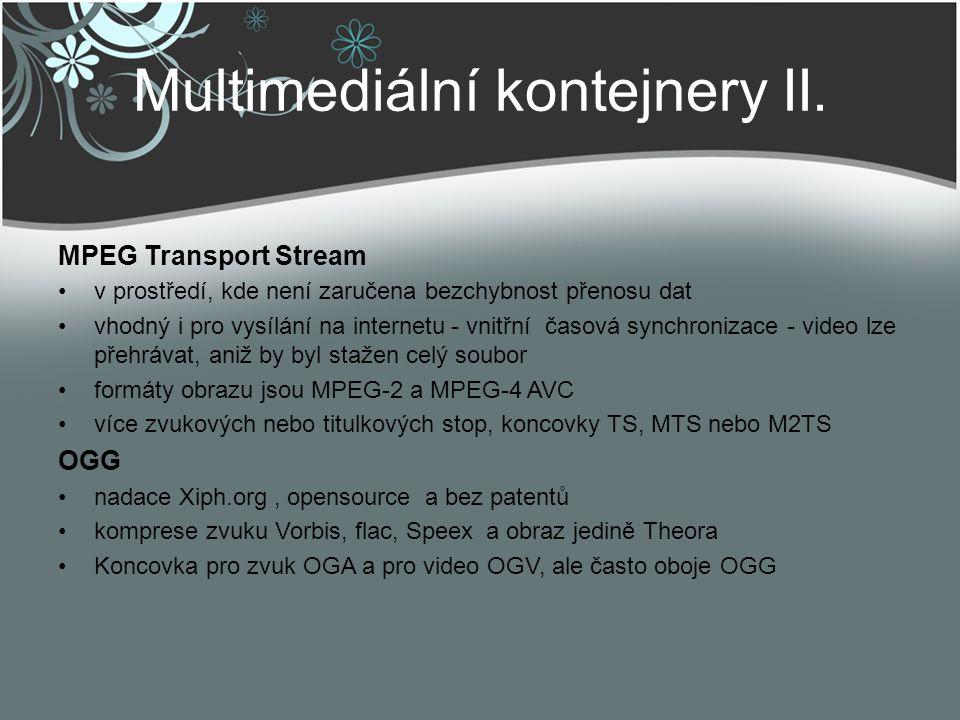 Multimediální kontejnery II.