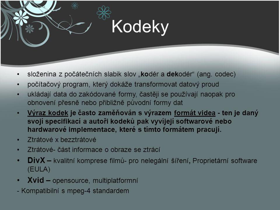 """Kodeky složenina z počátečních slabik slov """"kodér a dekodér (ang. codec) počítačový program, který dokáže transformovat datový proud."""
