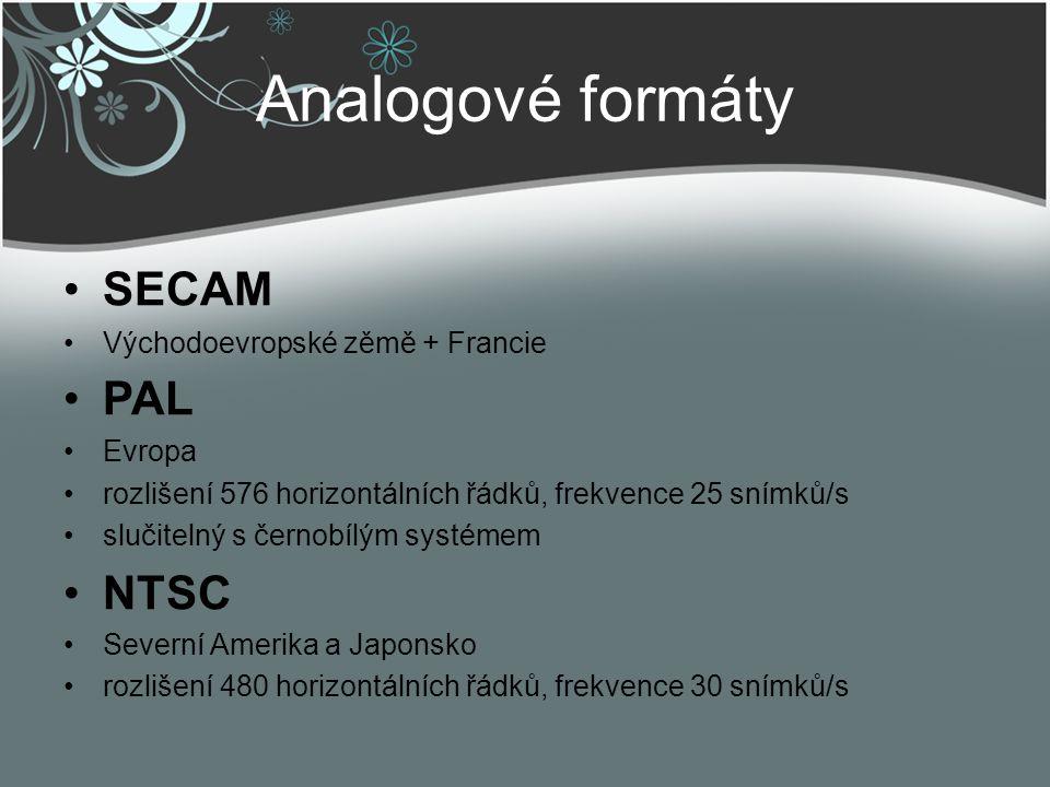 Analogové formáty SECAM PAL NTSC Východoevropské zěmě + Francie Evropa