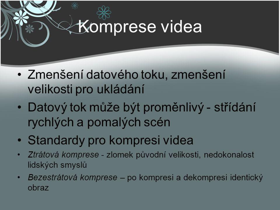 Komprese videa Zmenšení datového toku, zmenšení velikosti pro ukládání