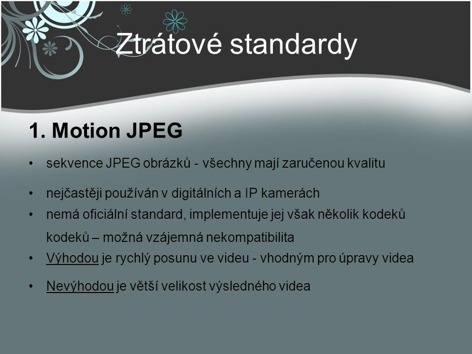 Ztrátové standardy 1. Motion JPEG