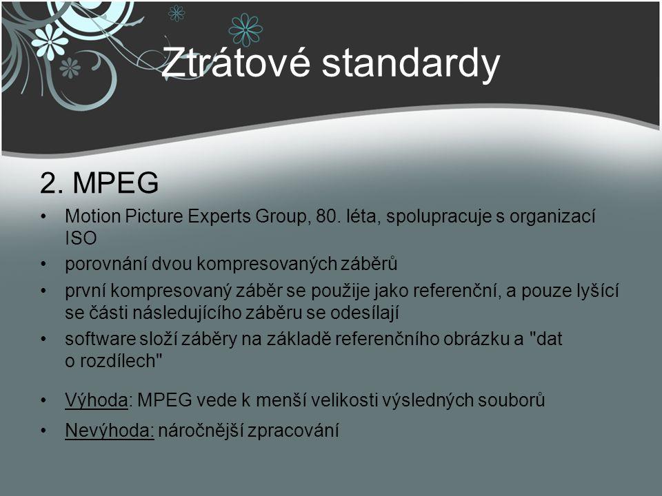 Ztrátové standardy 2. MPEG