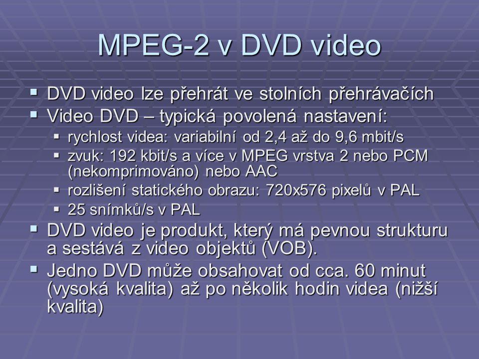 MPEG-2 v DVD video DVD video lze přehrát ve stolních přehrávačích